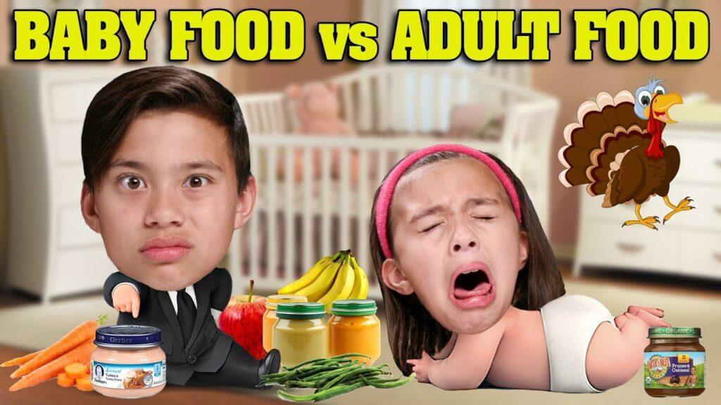 BABY FOOD VS ADULT FOOD CHALLENGE!!! Eating Meat In a Jar!