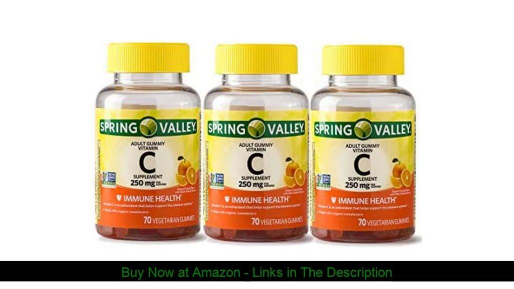 ☘️ SPRING VALLEY Adult Gummy Vitamin C,250MG, Pack of 3, 70 Gummies Each
